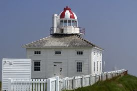 Old Cape Spear Lighthouse With White Fence, Newfoundland