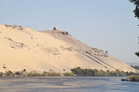 Tombs of the Nobles from Nile, Aswan, Egypt.