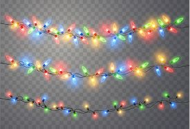 Christmas Lights Isolated On Transparent Background. Colorful Bright Xmas Garland. Vector Red, Yello