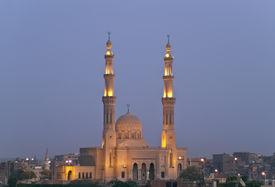 Mosque lights at night.