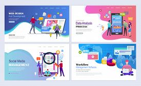 Landing Pages Template Set For Web Design, Development, Data Analysis And Marketing, Social Media Ma