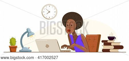 Young African Ethnicity Woman Alarmed In Problem Working On A Project In Stress Vector Flat Illustra