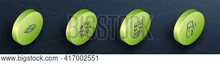 Set Isometric Line Reddish Eye, Virus, Pills In Blister Pack And Abdominal Bloating Icon. Vector