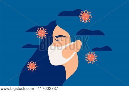 Woman Wearing A Face Protective Mask In The Covid-19 Pandemic Feels Anxiety And Suffers From Pressur