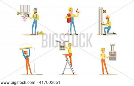 Professional Electricians At Work Set, Electrician Engineers In Uniform And Hardhat Installing And R