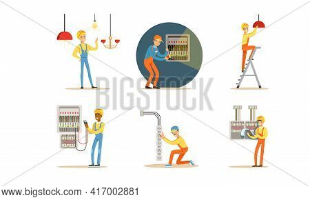 Electricians At Work Set, Professional Engineers In Uniform Installing And Repairing Electrical Tran
