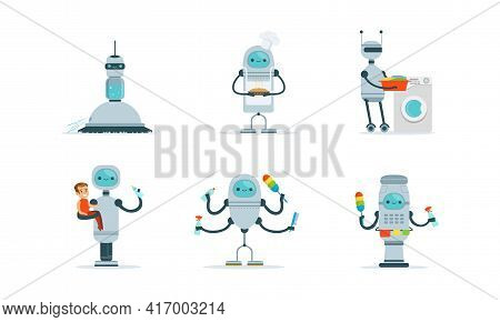 Housemaid Robots Characters Set, Home Robotic Assistant Helping People With Housework Cartoon Vector