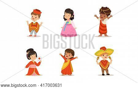 Cute Kids In National Costumes Of Different Countries Set, Boys And Girls Wearing Korean, Indian, Ko