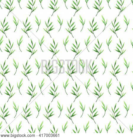 Green Bamboo Watercolor Semless Pattern. Bamboo Branches And Leaves Background.