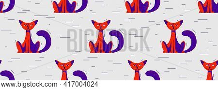 Funny Cartoon Cats Seamless Vector Textile Background Pattern, Wallpaper Or Bedclothes For Children,