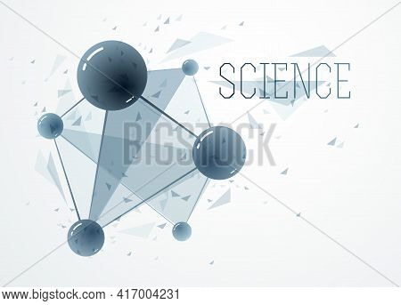 Molecules Vector Illustration, Science Chemistry And Physics Theme Abstract Background, Micro And Na