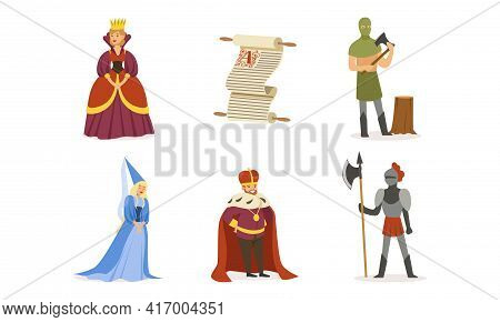 Medieval European Kingdom Set, Middle Ages Or Fairy Tale Characters, King, Queen, Princess, Knight,
