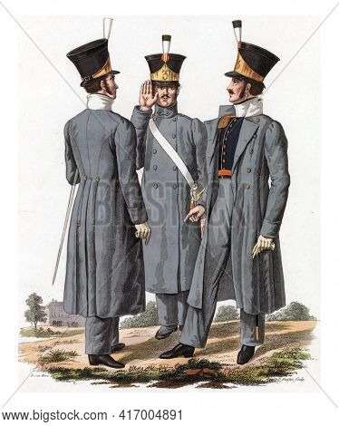 Two Officers (of the National Infantry), in uniform with the over-skirt, and Corporal, vintage engraving.