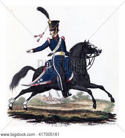 Gunner, on Horseback, vintage engraving.