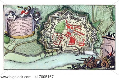 Map of the fortified city of Tonning, vintage engraving.