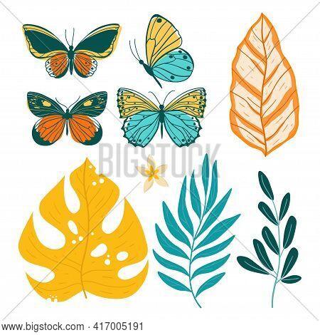 Tropical Leaves Set. Vector Bright Color Illustration.