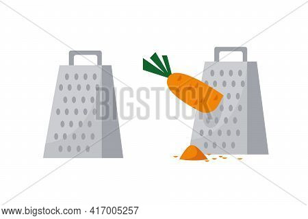 Lattice Set. Grated Carrot Vegetable. Cooking Process Vector Illustration. Crockery And Crockery Iso
