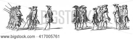 The Cent-Suisses and military officers. In the margin the caption in Dutch, French and English, vintage engraving.