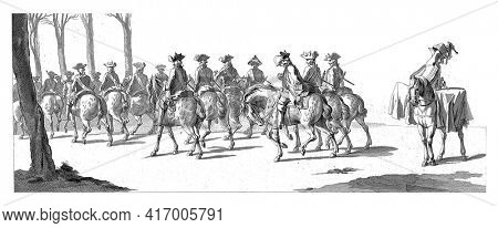 Dragoons and a drummer. In the margin the caption in Dutch, French and English, vintage engraving.