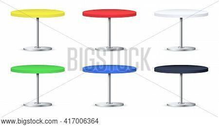 Set Of Realistic Empty Round Tables With Metal Stand Isolated On White Background. Mock Up Template