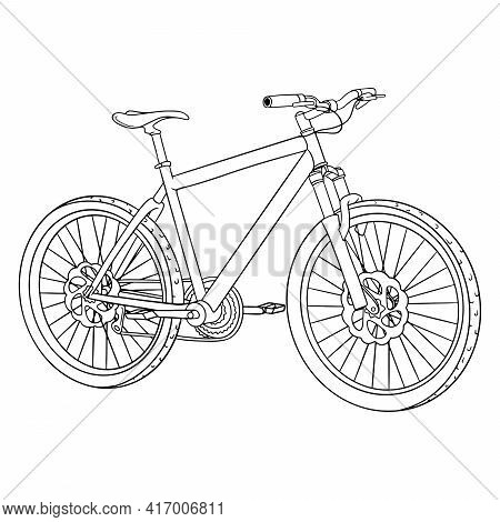 Bicycle. International Bicycle Day. Bicycle Drawn In Cartoon Style.