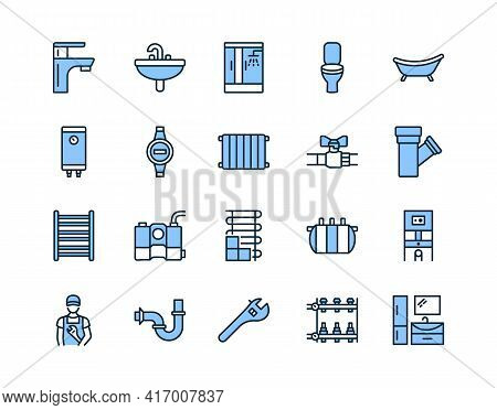 Plumbing Flat Line Icon Set Blue Color. Vector Illustration Water Supply, Sewerage, Heating, Enginee