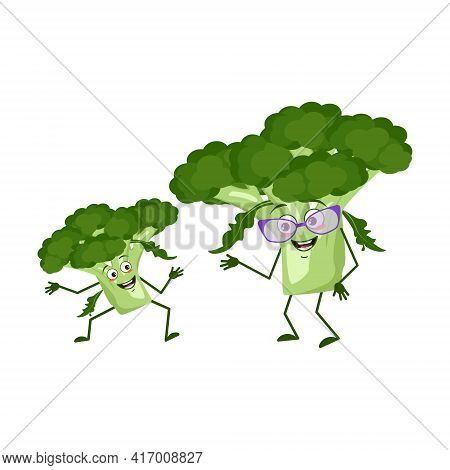 Cute Broccoli Characters Funny Grandmother And Grandson, Arms And Legs. The Funny Or Happy Hero, Gre