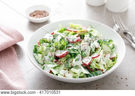 Fresh Vegetable Salad Of Green Lettuce, Radish And Cucumber With Dill, Green Onions And Greek Yogurt