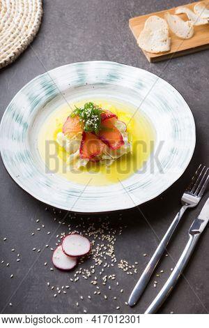 Smoked Salmon With Seaweed Chuka Served For Lunch