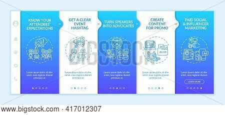 Remote Event Marketing Onboarding Vector Template. Responsive Mobile Website With Icons. Web Page Wa