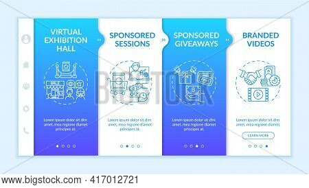 Sponsorship Remote Events Onboarding Vector Template. Responsive Mobile Website With Icons. Web Page