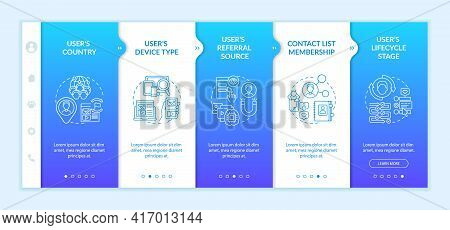 Smart Content Analytics Criteria Onboarding Vector Template. Responsive Mobile Website With Icons. W
