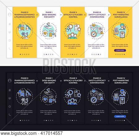 Investigation Stages Onboarding Vector Template. Responsive Mobile Website With Icons. Web Page Walk