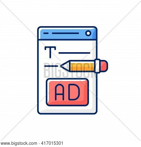 Writing Text Ads Rgb Color Icon. Copywriting Services For E Commerce. Engaging Content For Online Ma