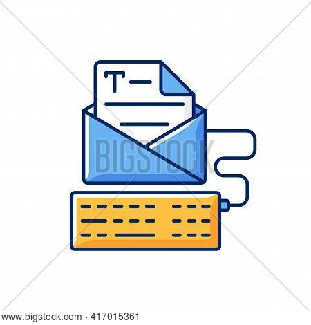 Newsletter Copywriting Rgb Color Icon. Copywriting Services. Typewriting, Typing With Keyboard. Prof
