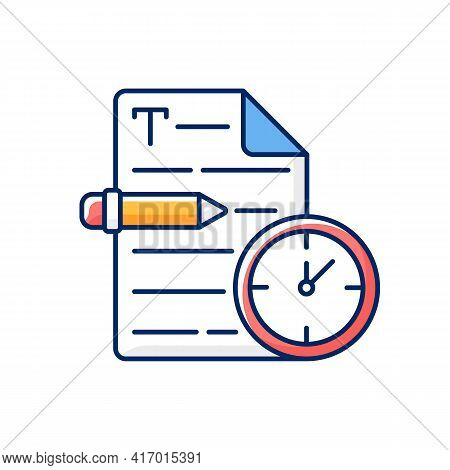 Urgent Copywriting Rgb Color Icon. Fast Copywriting Services. Time Management On Project. Fast Seo W