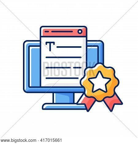 Professionalism Rgb Color Icon. Online Platform. Quality Copywriting Services. Freelance Business, S
