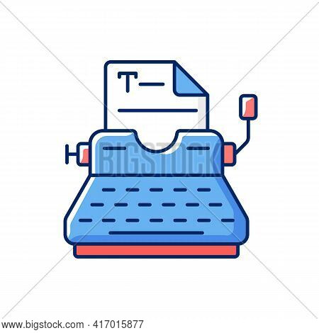 Typewriter Rgb Color Icon. Copywriting Services. Professional Journalism. Printing Sheets. Typing On