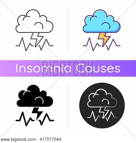Stress Icon. Concept Of Bad Mood, Depression And Anxiety. Thunderstorm, Cloud With Lightning. Bad We
