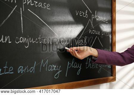 English Teacher Giving Sentence Construction Rules Near Blackboard, Closeup