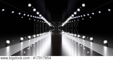 Black And White Carpet Red Carpet Stage 3d Render Illustration With Copy Space