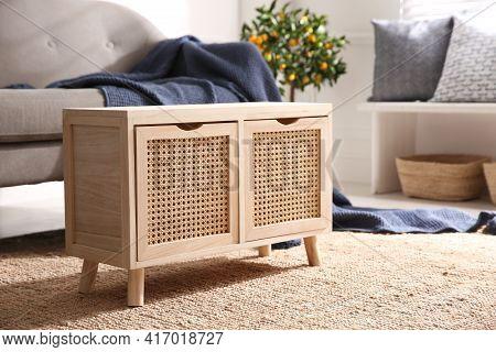 Wooden Cabinet Near Sofa In Living Room. Interior Design