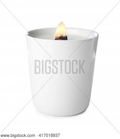 Beautiful Candle With Wooden Wick Isolated On White