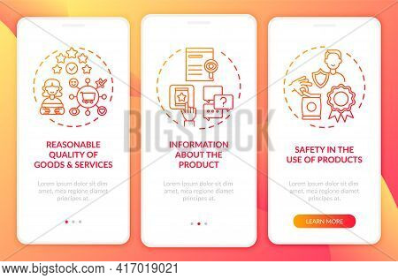 Fundamental Client Rights Onboarding Mobile App Page Screen With Concepts. Goods Use Safety Walkthro