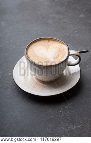 Ceramic Cup Of Fresh Cappiccino Coffee With Foam