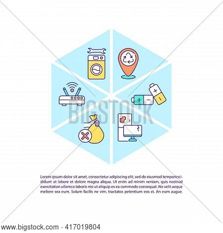 Discarded Household Appliances Concept Line Icons With Text. Ppt Page Vector Template With Copy Spac