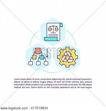 Environmental Standards For Recycling Concept Line Icons With Text. Ppt Page Vector Template With Co