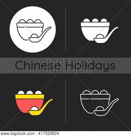 Tangyuan Dark Theme Icon. Glutinous Rice Dumpling. Winter Solstice Festival. Making And Eating Gluti