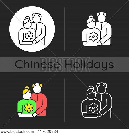 Old Couple Dark Theme Icon. Honor Senior Citizens Day. Double Ninth Festival. Organizing Outings For