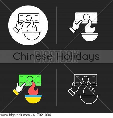 Burning Money Dark Theme Icon. Hungry Ghost Festival. Zhongyuanjie. Chinese Culture. Visiting Ancest